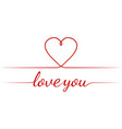 calligraphy text i love you heart graceful vector image vector image
