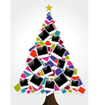Christmas instant photo frame tree vector image vector image