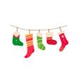 christmas socks for gifts single flat icon vector image vector image
