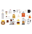 collection of icons on coffee theme equipment for vector image vector image