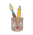cup with writing utensils pen brush in flat design vector image vector image