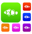 cute clown fish set collection vector image vector image