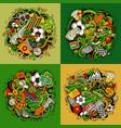 doodles cartoon set of football vector image