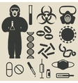 epidemic protection and medical icons set vector image