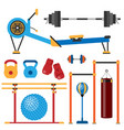 fitness gym club athlet sport activity body tools vector image