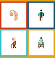 flat icon cripple set of disabled person injured vector image vector image