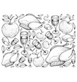 Hand drawn of roasted turkey with apple and wine b