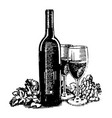 hand drawn sketch of wine bottle with glass vector image