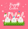 happy easter card with white rabbits vector image vector image