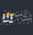 happy kids in blue hight school uniform cute vector image