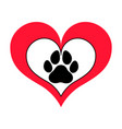 heart with framed pawprint vector image vector image