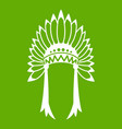 indian headdress icon green vector image vector image
