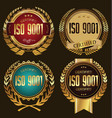 iso 9001 certified golden labels collection vector image vector image