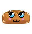 kawaii cute thinking bakery bread vector image vector image