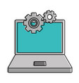 laptop computer with gears vector image