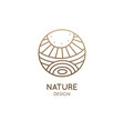 logo nature elements - sun lake field vector image