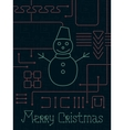 Merry Christmas Techno Line Art Bakcground vector image