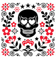 mexical skull and flowers design halloween vector image