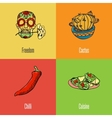 Mexican National Symbols Icons Set vector image vector image