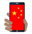 mobile phone with chinese flag icon vector image vector image