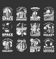 outer space explore monochrome icons set vector image