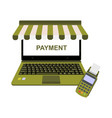 realistic laptop display online shop payment with vector image