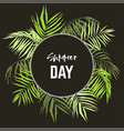round frame palm leaves vector image