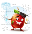 school apple with a worm and with a test tube in vector image vector image