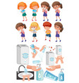 set children with hand proctection from virus vector image vector image