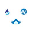 set of initial letter a cross plus plumbing logo vector image
