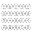 set round line icons weather vector image vector image
