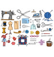 set sewing tools and materials or elements vector image vector image