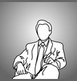 sitting businessman with cigar on his left hand vector image vector image