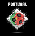 soccer ball in the color of portugal vector image vector image