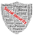 Social security word cloud vector image vector image