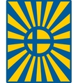 Sweden flag on sun rays backdrop vector image vector image