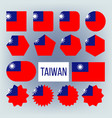taiwan various shapes national flags set vector image