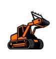 tracked mulching tractor icon retro vector image vector image