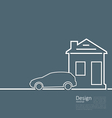 Web template house and parking car logo in minimal vector image vector image