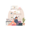 woman with hot drink using laptop at home vector image