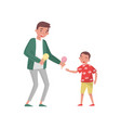 young father giving ice-cream to his son family vector image
