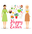 easter flat elements vector image