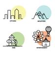 Landscape icons set vector image