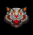 tiger cat fashion embroidery vector image