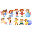 baby girls and boys doing different activities vector image vector image