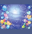 background with balloons dark blue vector image vector image