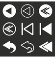Backward icon set vector image