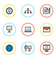 business icons colored line set with network bar vector image vector image