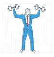 businessman lifting bars - line design style vector image