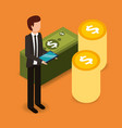 businessman with tablet computer and pile coins vector image vector image